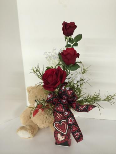 3 Roses and Teddy