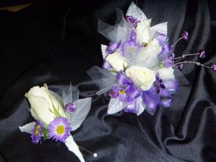 Purple Love Corsage and Boutonniere